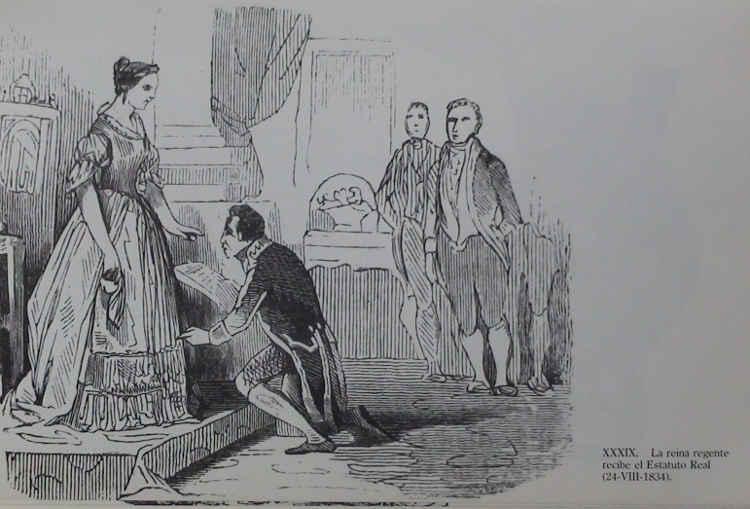 Entrega del Estatuto Real de 1834 a Isabel II