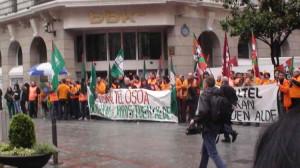2014, en Bizkaia, movilización de los trabajadores de Euskaltel