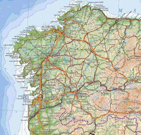 Mapa fisico de Galicia