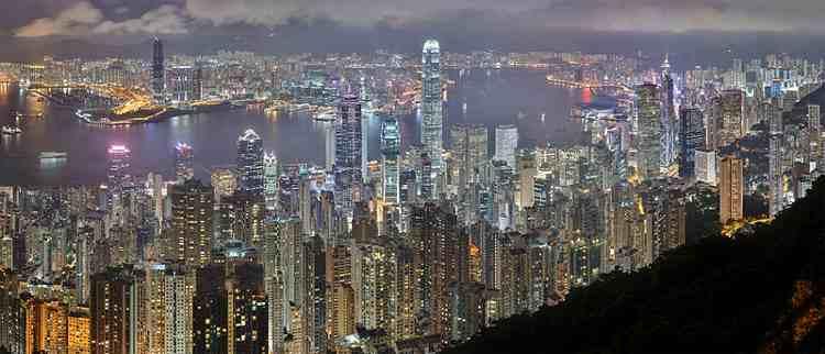 Hong Kong, de noche.