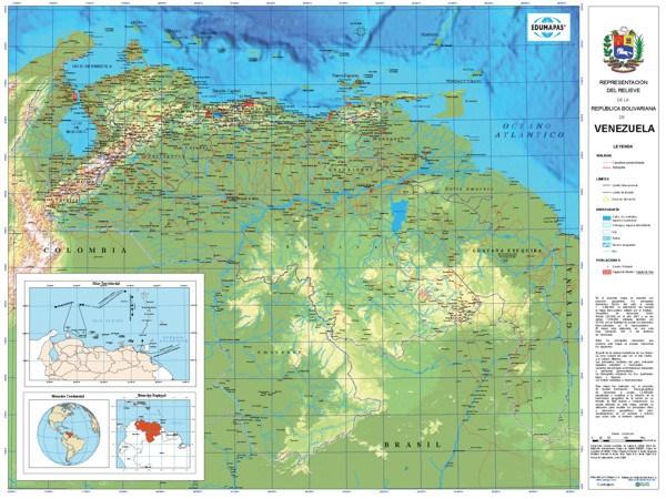 Mapa físico de Venezuela