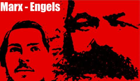 Detalle de una composición fotográfica de las figuras de Marx y Engels. Creditos: Marxits.org.