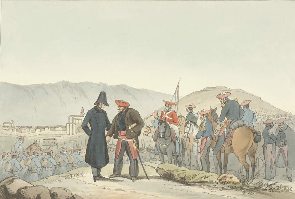 El rey Carlos V con Zumalakarregi, nótese el gesto con que el general indica al rey con su índice en suelo, en señal de mando en el lugar (Agurain, Araba, Euskal Herria).