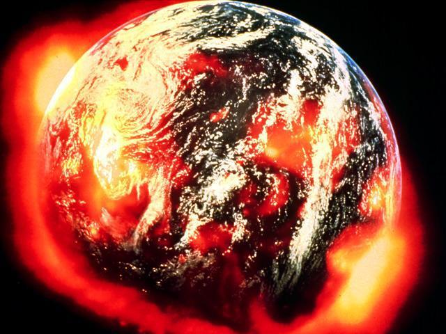 Planeta ardiendo, dramatización gráfica, metáfora del potencial colapso del capitalismo internacional.