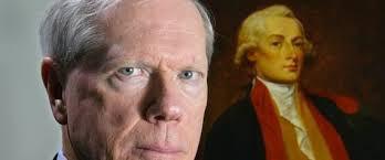 Retrato oficial de Paul Craig Roberts, con retrato de George Washingtown de fondo.