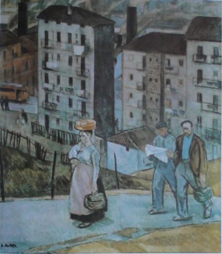 Pintura de Aurelio Arteta, titulada 'barrio obrero', empleada como carátula para el libro Guerra de géneros mundial y maximiazación de la concurrencia