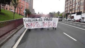 Obreros bizkainos en paro reivindicando la repartición del trabajo y la riqueza.