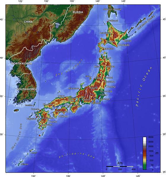 Japón, Mapa físico