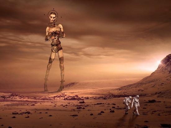 Viñeta alusiva a la transformación genética humana para adaptarse a la vida en otras condiciones planetarias