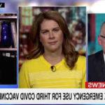 La presentadora de CNN, Erin Burnett, le dijo a Reiner que 'cuando miras esto en un contexto más amplio, todavía hay un tercio de la población elegible en los Estados Unidos que no ha recibido una sola dosis'.